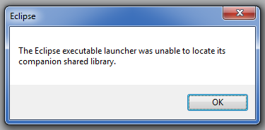 Eclipse Executable Launcher Error message.