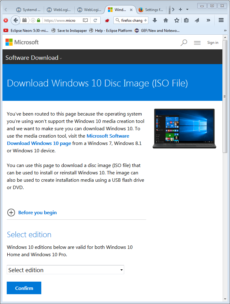 https://www.microsoft.com/en-us/software-download/windows10 when the browser's user agent string indicates an OS other than Windows. Direct download links to Windows 10 disc images are served.