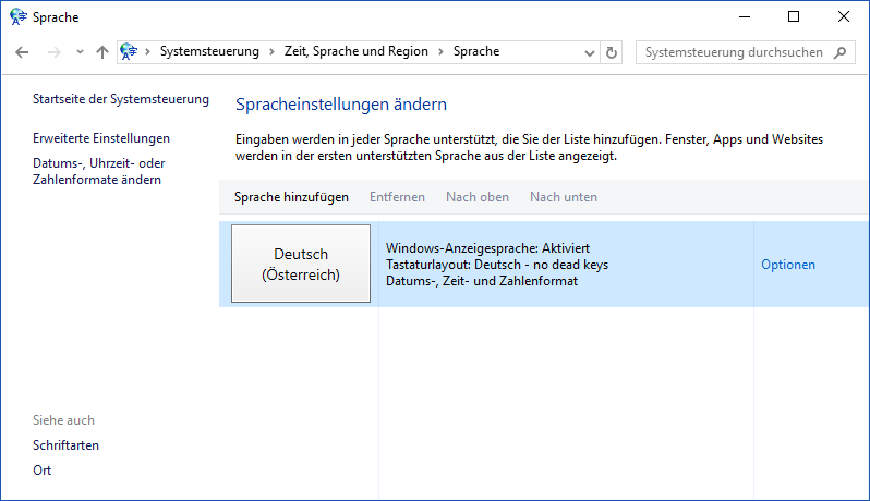 The german Change Your Language Preferences dialog.