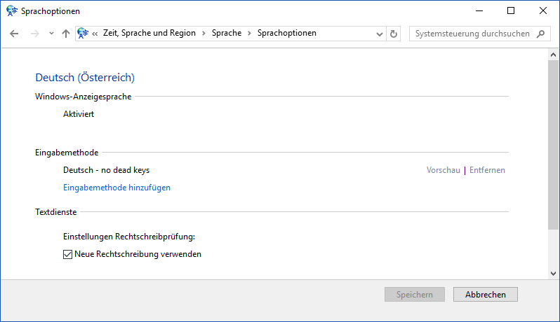 The german Language Options dialog.